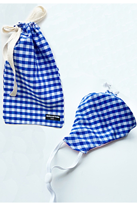 Blue Gingham Face Mask and Pouch