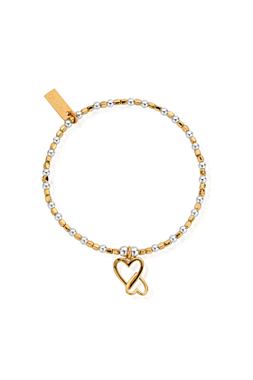 Gold & Silver Interlocking Love Heart Bracelet