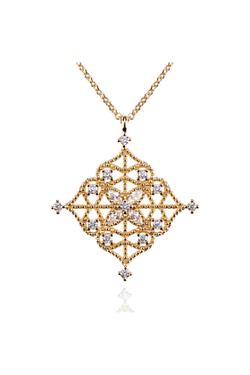 Gold Arabesque Pendant Necklace with Cubic Zirconia