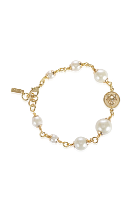 Wolf Disc Pearl Bracelet Gold