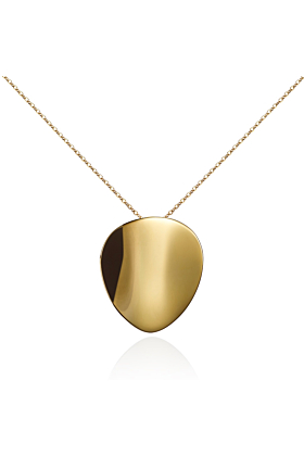 18kt Yellow Gold Plated Large Mirror Pendant Necklace
