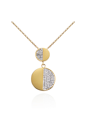 18kt Yellow Gold Plated Double Disc Necklace with Swarovski Crystals