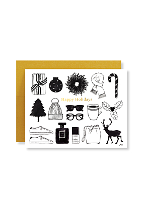 Holiday Items Illustration with Gold Foil Holiday Card