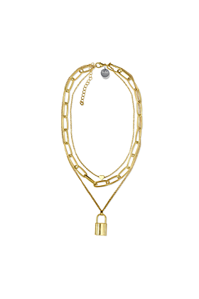 Gold Triple Layer Heart Chain Necklace