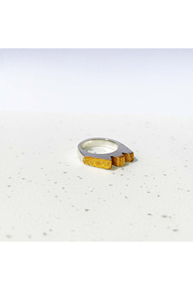 Sterling Silver Geo Ring with Gold Leaf