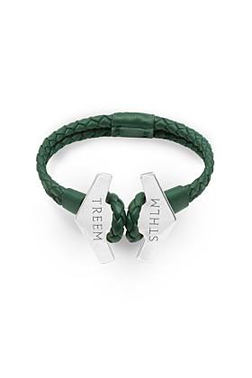 Green Leather & Oxidised Sterling Silver Stark Bracelet