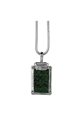 Sterling Silver & Nordic Salmon Leather Green Rectangle Pendant | Nord Collection