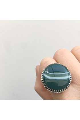 Sterling Silver & Banded Green Agate Ring