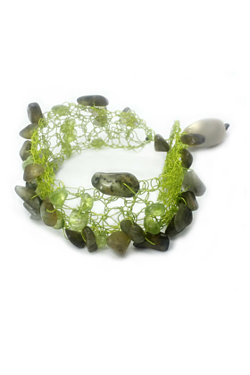 Silver Plated Green Wire Dafne Bracelet