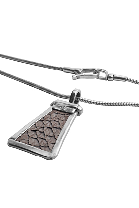 Sterling Silver & Nordic Salmon Leather Grey Trapezium Pendant | Nord Collection