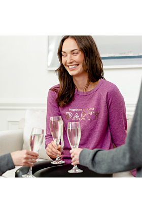 Happiness is...a Good Party Sweatshirt in Plum