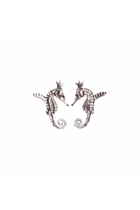 White Rhodium Plated Hippocamp Earrings
