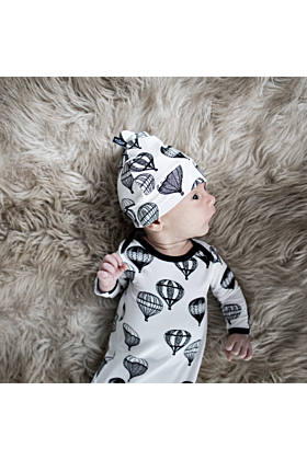 Hot Air Balloon Knotted Bamboo Newborn Gown & Hat