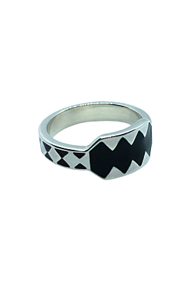 Hlanu Silver Shield Enamel Ring