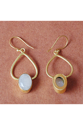 18kt Gold Plated Unique Design Natural Rainbow Moonstone Stunning Dangle Earrings