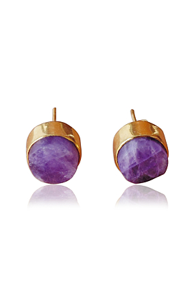 18kt Gold Plated Natural Purple Amethyst Round Shape Ladies Post Studs Earrings