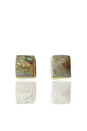 Gold Plated Unique Designer Raw Labradorite Post Studs Earrings