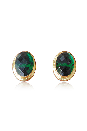 18kt Gold Plated Traditional Handmade Green Onyx Studs Brass Earrings