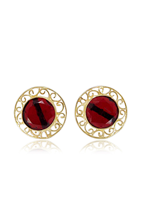 Gorgeous Round Shape 18K Gold Plated Women Post Studs Earrings