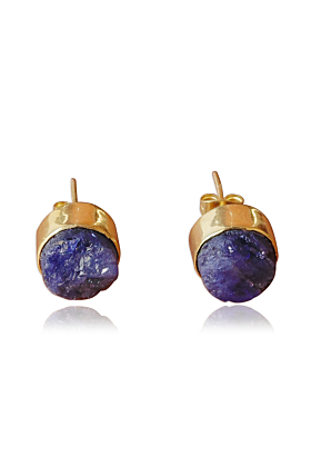 18kt Gold Plated Round Tanzanite Designer Studs Earrings
