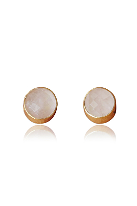 18kt Gold Plated Round Shape Rose Quartz Small Post Studs Earrings