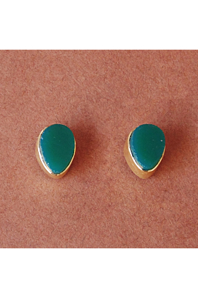 Everyday 18K Gold Plated Raw Green Onyx May Birthstone Women Post Studs Earrings
