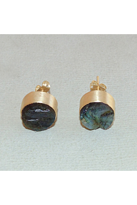 Gold Plated Natural Labradorite Birthstone Round Shape Post Studs Earrings