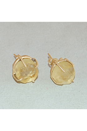 Gold Plated Prong Set Natural Raw Citrine Small Post Earrings