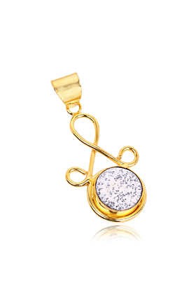 Artisan Made In 18K Gold Plated Dendritic Opal Gemstone Fashion Pendant