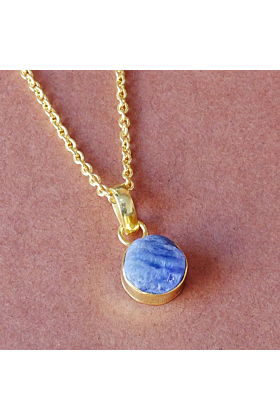 Natural Raw Tanzanite Gemstone Small Drop Pendant With 18K Gold Plated