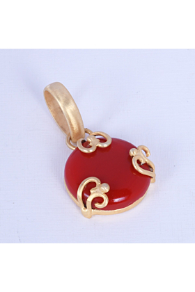 18kt Gold Plated Round Shape Red Onyx Anniversary Gift Pendant