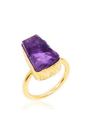 18kt Yellow Gold Plated Purple Amethyst Ring