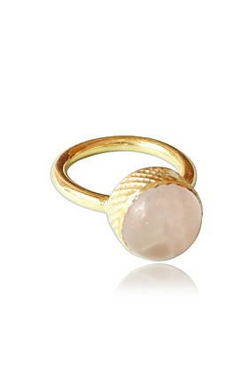 18kt Gold Plated Artisan Crafted Round Rose Quartz Stacking Fashion Ring