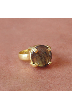 18kt Gold Plated Round-Shaped Labradorite Prong Set Promise Ring