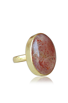 18kt Yellow Gold Vermeil Natural Sunstone New Year Gift Ring