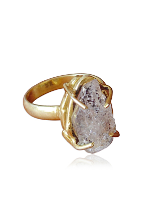18kt Gold Plated Four Prong Set Raw Herkimer Diamond Mineral Stone Stacking Ring