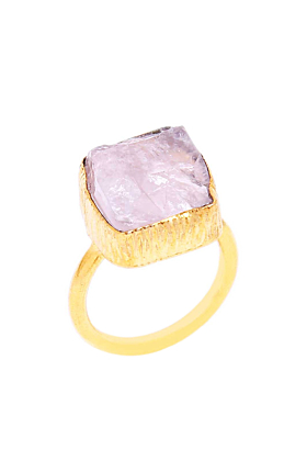 Gorgeous Hand-Crafted 18K Gold Plated Rose Quartz Gemstone Finger Ring