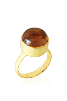 18kt Gold Plated Round Shape Smoky Quartz Wedding Stacking Ring
