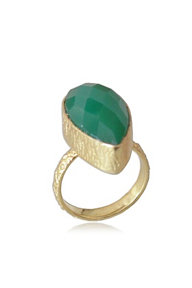 18kt Yellow Gold Plated Faceted Green Onyx Stacking Ring
