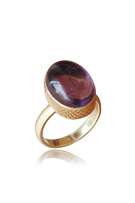 18kt Matte Gold Plated Oval Shape Amethyst Birthstone Women Anniversary Gift Ring