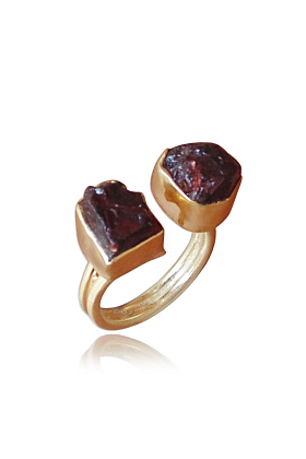18kt Gold Plated January Birthstone Raw Garnet Dual Stacking Ring