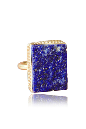18kt Gold Plated Natural Lapis Lazuli September Birthstone Stacking Ring