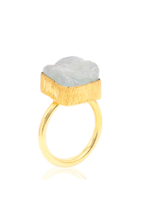 18kt Yellow Gold Plated Aquamarine Ring