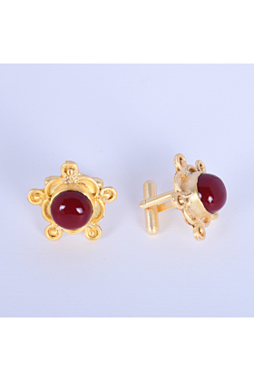 18kt Gold Plated Red Coral Cufflinks