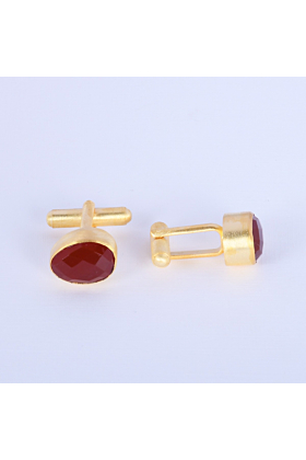 18kt Gold Plated Red Onyx Cufflinks