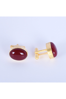 18K Gold Plated Red Coral Cufflinks