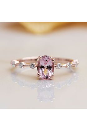 14kt Gold High Quality Oval Pink Morganite & Diamond Engagement Ring
