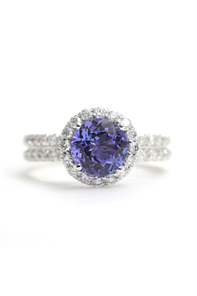 14kt White Gold Tanzanite & Diamond Halo Engagement Ring