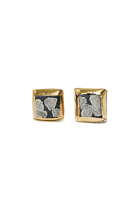 Porcelain Square Earrings with Gold & Platinum
