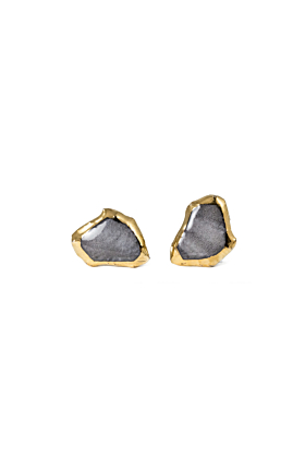 Grey Porcelain Earrings with Gold Edge